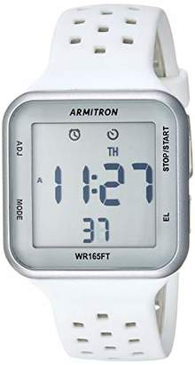 Armitron Sport Unisex 40/8417SWT Digital Chronograph and Grey Perforated Silicone Strap Watch