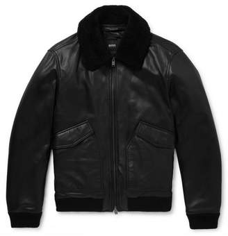 HUGO BOSS Shearling-Trimmed Leather Aviator Jacket - Men - Black