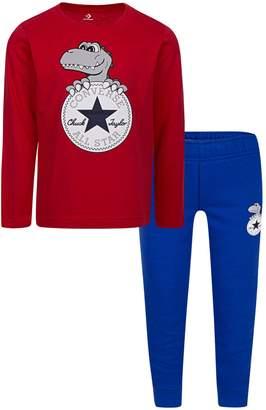 Converse Little Boy's 2-Piece Dino Chuck Cotton Blend Tee Jogger Pants Set