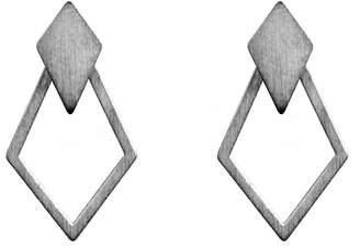 Dutch Basics - Ruit Detachable Drop Earrings Oxidized Silver
