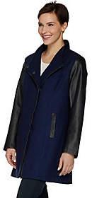 Blend of America Dennis Basso Envelope Collar Wool & FauxLeather Coat