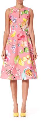 Carolina Herrera Sleeveless Floral Poplin Knee Length Dress