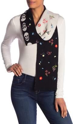 Skull Cashmere Livia Skull Floral Wool Cashmere Blend Scarf