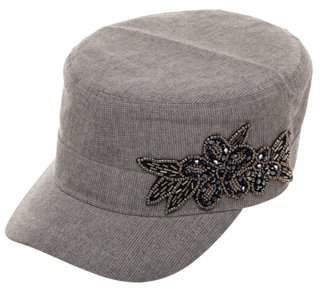 Time and Tru Women's Silver Cadet Cap with Beaded Flower Embellishment