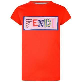 Fendi FendiGirls Red Logo Print Top