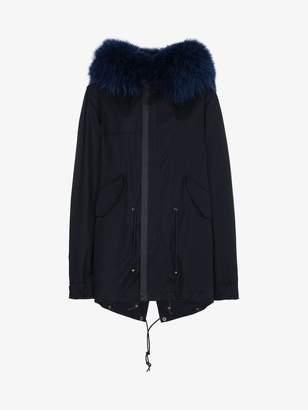 Mr & Mrs Italy Black and blue fur trimmed parka