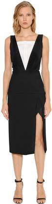 CHRISTOPHER ESBER V Neck Piqué Dress With Silk Insert