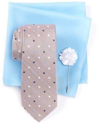 Ben Sherman Taylor Dot Tie, Pocket Square, & Lapel Stick Pin Set