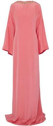 Oscar de la Renta Embellished Silk-Satin Gown