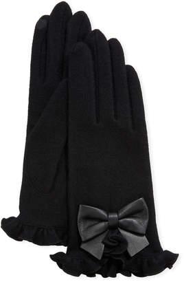 Portolano Wool-Blend Ruffle Gloves w\/ Leather Bow
