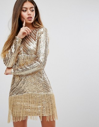 Prettylittlething Premium Sequin Fringed Mini Dress $98 thestylecure.com