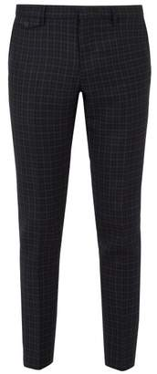 Burberry Serpentine Checked Wool Trousers - Mens - Navy