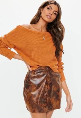 Missguided Orange Crop Off Shoulder Knit Sweater