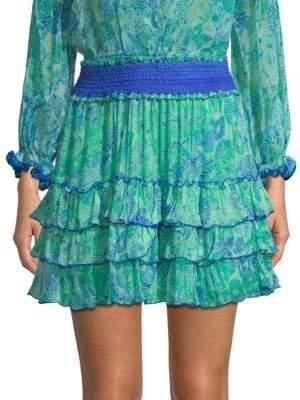 Poupette St Barth Isma Silk Ruffle Mini Skirt
