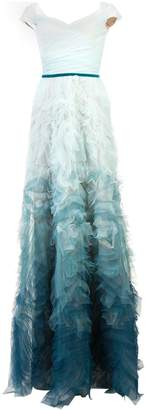 Marchesa fitted ombré gown
