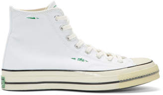 Converse White and Green Chuck 70 High-Top Sneakers