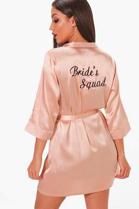 boohoo Brides Squad Satin Robe