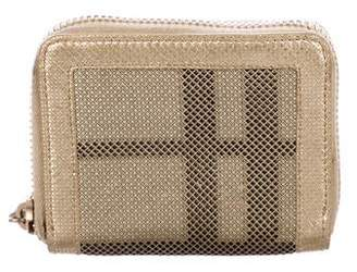 Burberry Metallic Perforated Check Wallet