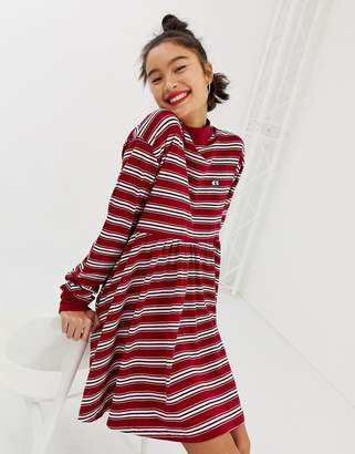 Lazy Oaf long sleeve smock dress in stripe