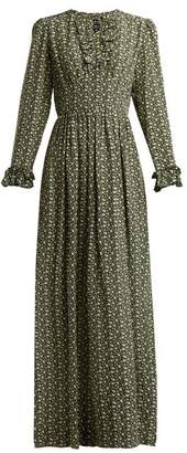 A.P.C. Sina Printed Silk Crepe Maxi Dress - Womens - Green Multi