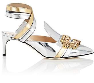 GIANNICO Women's Daphne Leather Ankle-Strap Sandals - Silver