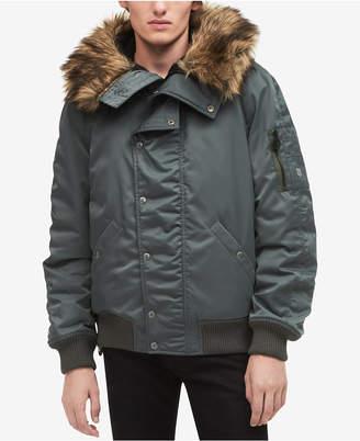 Calvin Klein Jeans Men's N-2B Flight Jacket with Faux-Fur Hood