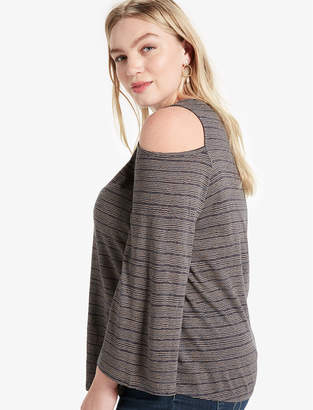 Lucky Brand COLD SHOULDER FLUTTER TOP