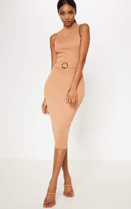 PrettyLittleThing Camel High Neck Belt Detail Midi Dress