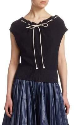 Calvin Klein Ruched Drawstring Knit Top