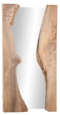 DecMode Decmode Natural 36 X 18 Inch Rectangular Brown Mango Wood Burl Framed Wall Mirror
