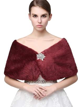 Anmor Women's Shawl Wrap Faux Fur Scarf Stoles for Wedding Dresses