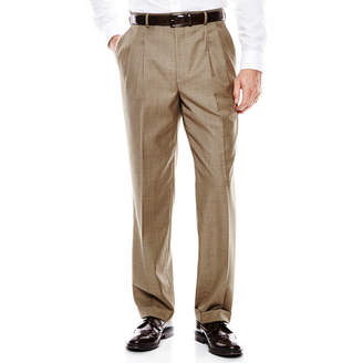 STAFFORD Stafford Travel Brown Sharkskin Pleated Suit Pants - Classic Fit