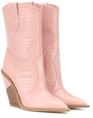 Fendi Embossed leather cowboy boots