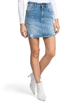 PRPS Distressed A-Line Denim Mini Skirt