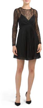 Long Sleeve Lace Overlay Dress