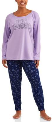 Lush JV Apparel Women's and Women's Plus Printed 2-Piece Raglan Top and Jogger Pant