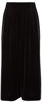 Alexandre Vauthier Velvet Wide Leg Culottes - Womens - Black