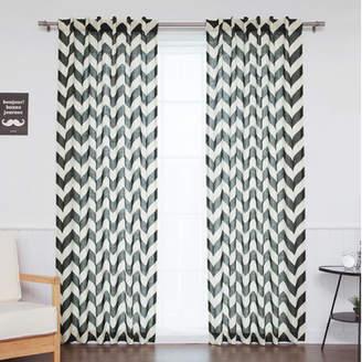 Best Home Fashion Best Home Fashion, Inc. Slub Chevron Sheer Rod Pocket Curtain Panels