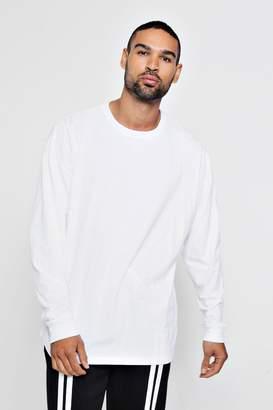 boohoo Long Sleeve Oversized Split Hem T-Shirt