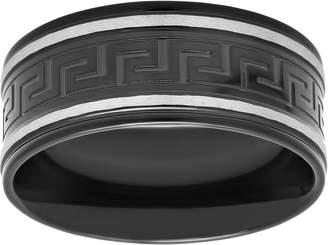 Forza Men's Black-Plated Stainless Steel GreekKey Design Ring