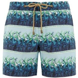 Thorsun Antelope Print Titan Fit Swimshorts - Mens - Blue