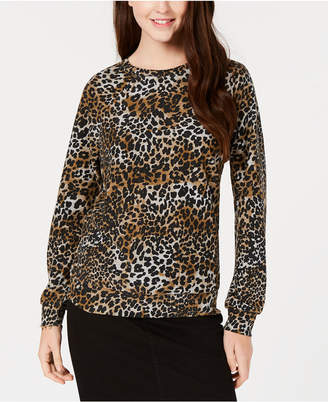 Rebellious One Juniors' Leopard-Printed French Terry Sweatshirt