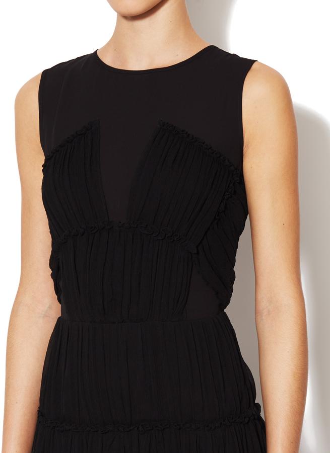 Cynthia Steffe Winslet Silk Pleated Ruffle Dress