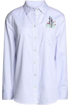 Equipment Leema Embroidered Striped Cotton-Poplin Shirt