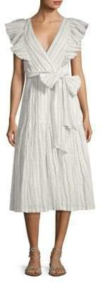 Rebecca Taylor Striped V-Neck Dress