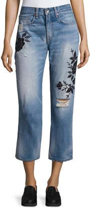 Rag & Bone Ramona Embroidered Marilyn Crop Jeans, Indigo