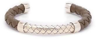 Bottega Veneta Intrecciato Leather Bracelet - Mens - Khaki