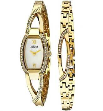 Accurist Ladies Stone Set Goldステンレススチールブレスレットand Watchギフトセットlb1413