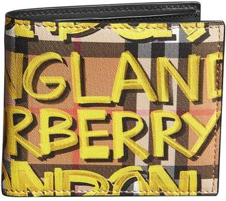 Burberry Graffiti Print Vintage Check International Bifold Wallet