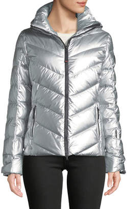 Bogner Sassy Metallic Puffer Coat in Chevron